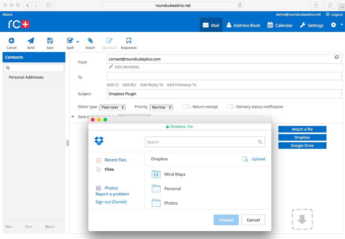 Integrate - Dropbox | Roundcube Plugins, Themes & Skins